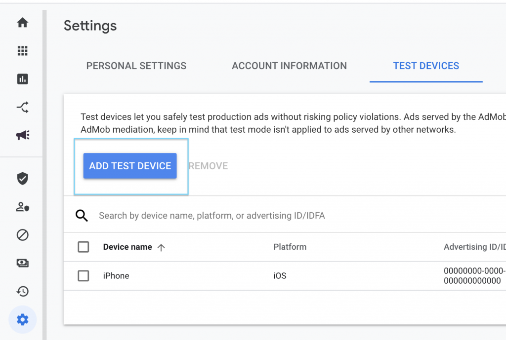 Admob Settings Test Devices