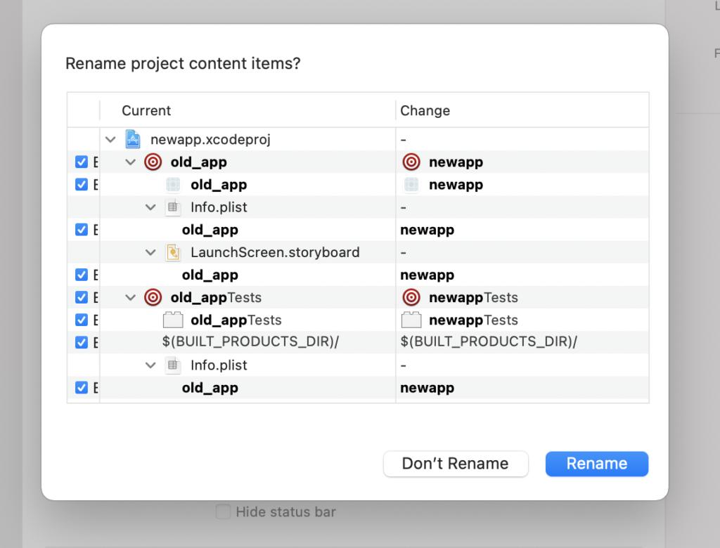 xcode app rename dialog