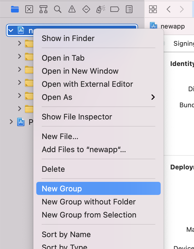 xcode new group dialog